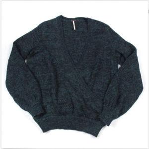 Free People Karina Wrap Sweater Green V-Neck
